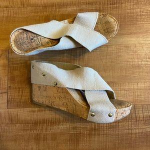 Lucky Brand Miller cork wedge sandals heels shoes